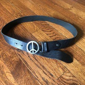 American eagle peace sign black leather belt